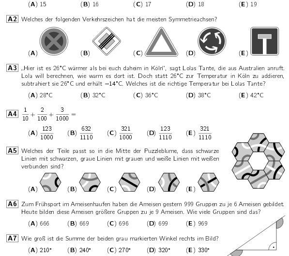 Mathematik Kaenguru Aufgabenbeispiel