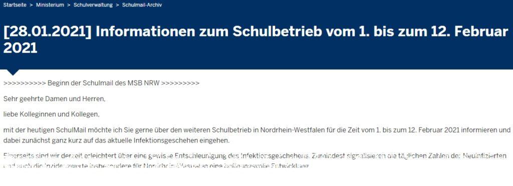 Schulmail des Landes NRW zu den Regelungen ab dem 1. Februar